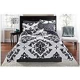 Black & White Damask Twin Comforter & Sheet Set (6 Piece Bed In A Bag)