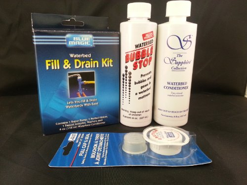 Waterbed Accessories Bundle Includes Bubble Stop Waterbed Conditoiner Fill-Drain Kit Pull Cap And Seal front-345241