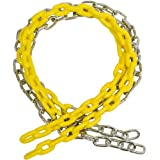 5 1/2 FT COATED CHAIN per pair, Yellow with SSS logo sticker