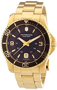 Victorinox Swiss Army Men's Maverick 241607 Gold Stainless-Steel Swiss Quartz Watch with Brown Dial