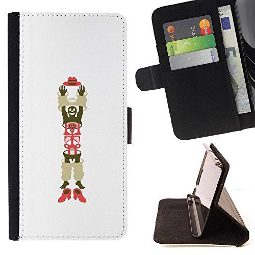 Momo Phone Case / Protettiva Custodia Flip Wallet in pelle - L'uomo scheletro Cappello Scarpe arte - MOTOROLA MOTO X PLAY XT1562
