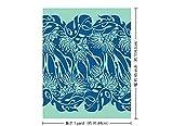 水色のハワイアンファブリック 青のレフア・モンステラ柄 fab-2562AQBL 【ハワイ生地・ハワイアンプリント】