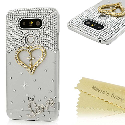 New LG G5 Case (LG H868) - Mavis's Diary 3D Handmade Bling Crystal Shiny Sparkly Diamonds Rhinestone...