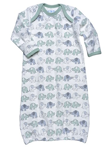 Under The Nile Apparel Unisex-Baby Newborn Lap Shoulder Baby Gown Elephants, Green/Gray, 0-6 Months front-899701