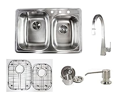 33 Inch Stainless Steel Top Mount / Drop In Double Bowl Kitchen Sink and Ariel Imperial Faucet Combo