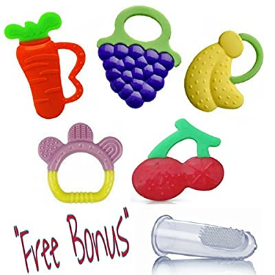 Arimy Baby Fruit Silicone Teether Toys, Set of 5 BPAfree Teethers with Bonus, Great Teething Toy for Babies and Toddlers by Arimy Baby that we recomend individually.