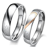"Lover's Heart Shape Titanium Stainless Steel Mens Ladies Promise Ring ""Real Love"" Couple Wedding Bands"