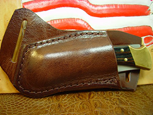leather-buck-110-or-112-knife-sheath-light-brown-left-hand-draw-the-genuine-water-buffalo-leather-is