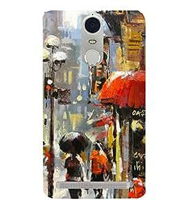 Multicolour Painting of a Street 3D Hard Polycarbonate Designer Back Case Cover for Lenovo K5 Note :: Lenovo Vibe K5 Note Pro
