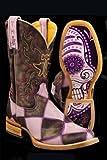 Tin Haul Women's Sugar Skull Checkerboard Cowgirl Boot Square Toe