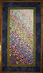 Art Quilt, Purple Green Summer Garden Flower Fabric Wall Hanging, 31 x 17.5\
