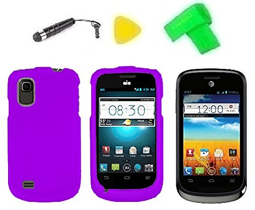 Phone Cover Case Cell Phone Accessory + Extreme Band + Stylus Pen + Lcd Screen Protector + Yellow Pry Tool For At&T Zte Avail 2 Ii Go Phone Z992 / Zte Prelude Z993 (Purple)