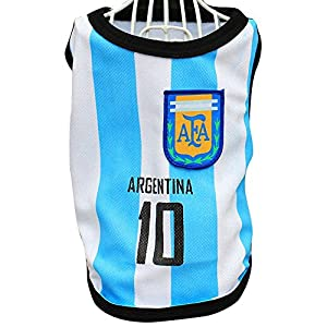 Moolecole Sports Pet Clothes 2014 Brazil World Cup Soccer Football Jerseys for Dog Cat T-shirt Argentina M