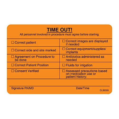 """Time Out"" Label Fluorescent Orange With Permanent Adhesive 4""W X 2.25""H"