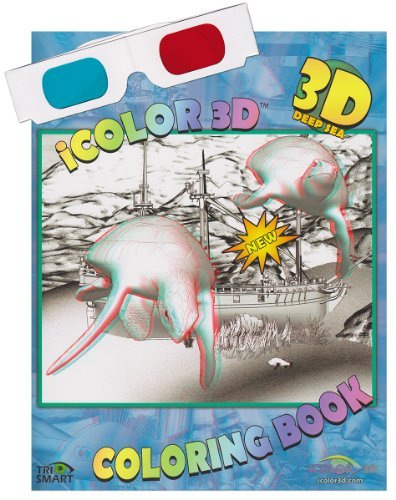 iColor 3D Deep Sea (High Detail) Coloring Book. Watch as Sharks, Turtles, Divers, and All Kinds of Fish Come to Life. (3D Glasses Included)