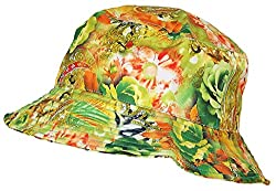 Tropic Hats Lightweight Hawaiian/Floral Designed Floppy Bucket Cap (One Size) - Green/Orange/Yellow
