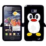 Ganvol Neuheit Pinguin Silikon Hülle Case Schutzhülle Etui in Schwarz für Samsung i9100 Galaxy S2