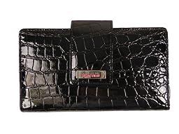 Kenneth Cole Reaction Womens Utility Clutch Wallet (Black Croc)