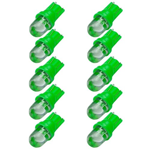 Ecosin 10pcs White T10 W5W LED Car Wedge Light SideNumber Plate Lamp Bulb DC12V Green (T10 Led Bulb Green compare prices)