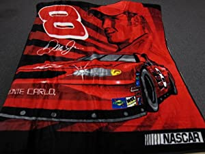 Nascar Dale Earnhardt Jr Royal #8 with Race Car Royal Plush Raschel Throw Blanket