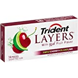 Trident Layers Gum, Sweet Cherry and Island Lime, 14-Count (Pack of 12)