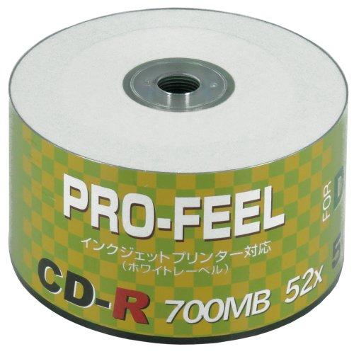 PRO-FEEL CD-R お徳用50枚シュリンクパッケージ ホワイトプリンタブル ノーマルプリントエリア