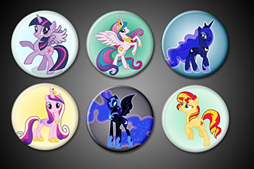 My Little Pony Magnets EXPANDED Pack Princess Celestia, Cadence, Princess Twilight Sparkle, Luna, Nightmare Moon, Sunset Shimmer for fridge lockers magnet boards whiteboards (Luna Fridge compare prices)