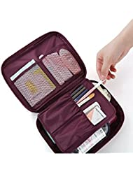 SWADEC Portable Waterproof Multi Pouch Travel Toiletry Cosmetic Bag Makeup Case Storage Bag With Handle - Wine