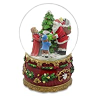 6″ Santa Claus Giving Kids Christmas Gifts around Tree Musical Box Snow Globe