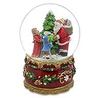 6″ Santa Claus Giving Kids Christmas Gifts around Tree Musical Box Snow Globe