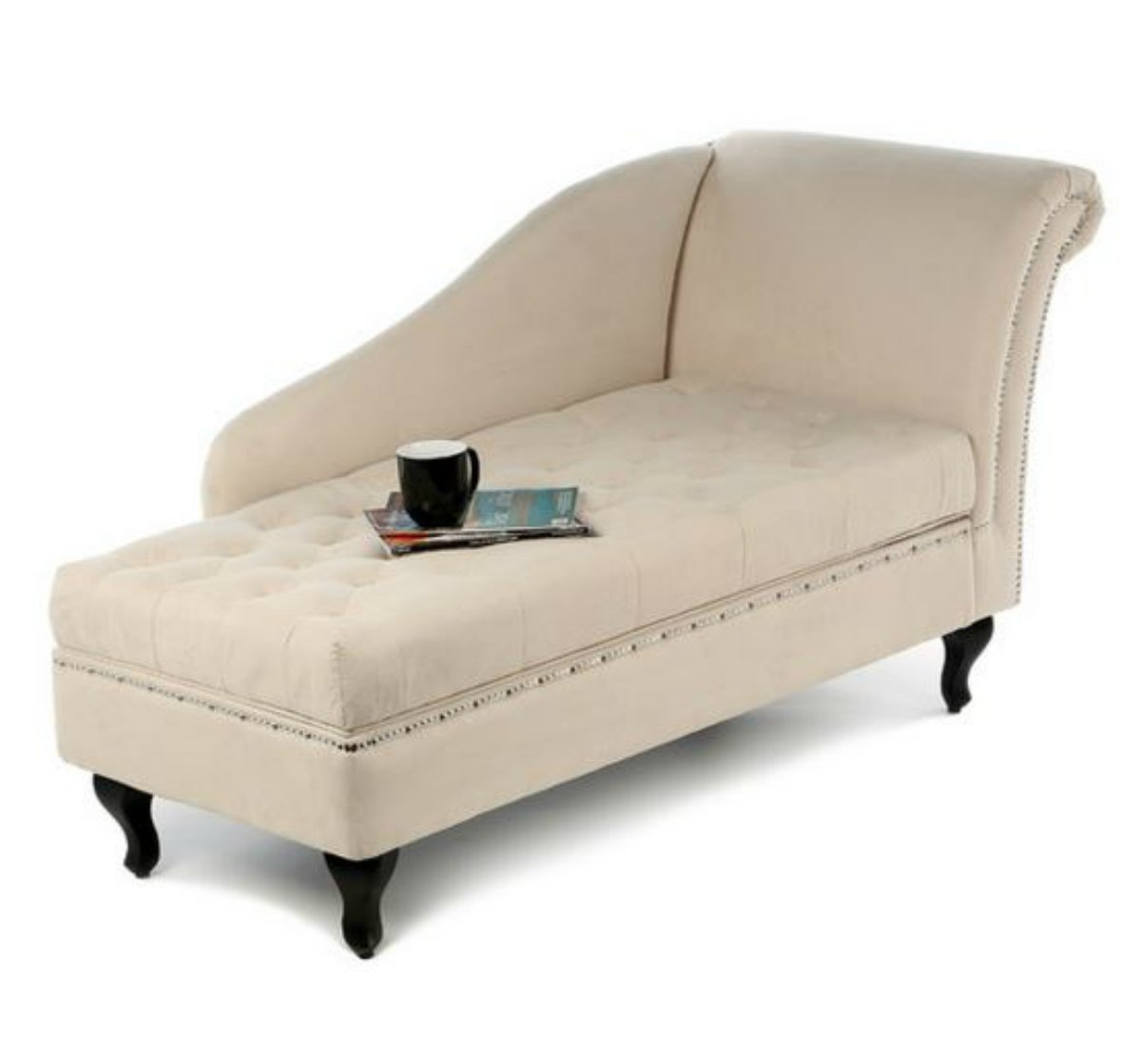 Traditional Storage Chaise Lounge - This Luxurious Lounger w/ Tufted Cushions is a Great Addition to Your Office, Living Room, or Bedroom -Made of Wood and Microsuede - Free eBook (Khaki) 8