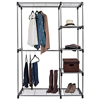 ... Internets Best Portable Closet Organizer | Double Rod Freestanding  Garment Rack | Multiple Shelving And Shoe