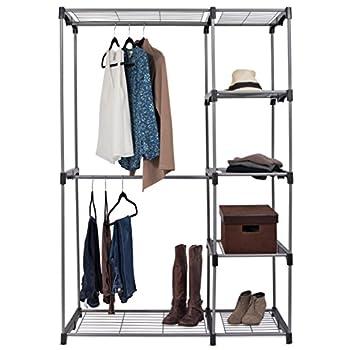 Internets Best Portable Closet Organizer | Double Rod Freestanding Garment Rack | Multiple Shelving and Shoe Rack | Wardrobe Storage