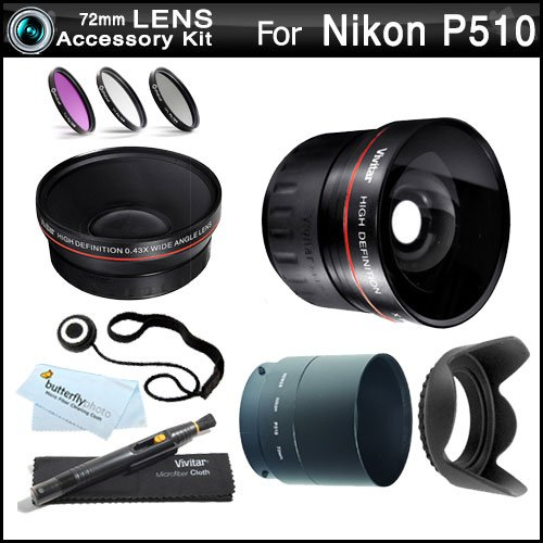 72mm All In Lens Kit For Nikon Coolpix P510 Digital Camera Includes Necessary Tube Adapter (72mm) + HD .43x Wide Angle Lens + 2.2x Telephoto Lens + Multi-Coated 3 Piece Filter Kit (UV CPL FLD) + Lens Hood + Lens Pen Cleaning Kit + Lens Cap Keeper +++