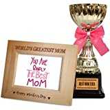 TiedRibbons Mothers Day Gifts From Son Quotes Engraved Wooden Photo Frame With Golden Trophy