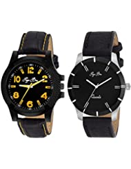 Pappi Boss - BRANDED ORIGINAL - Executive Class Pack Of 2 Black Leather Strap Analog Wrist Watch For Boys, Men...