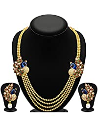 Penny Jewels Golden Peacock Stylish Design Necklace Set For Woman