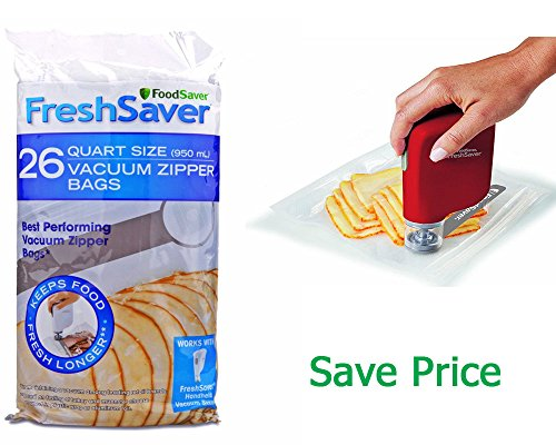Save Set FreshSaver Handheld Vacuum Sealing System, Red with Vacuum Zipper Bags, 26 Count (Foodsaver Vacuum Bags Pint Size compare prices)