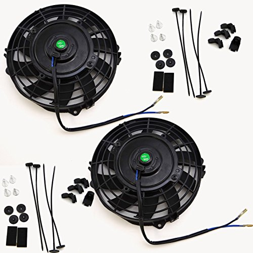 Set of 2 Black 7 inch 12V 80W Slim Pull Push Electric Radiator Engine Cooling Fan Mounting Kit (8 Fan Radiator compare prices)