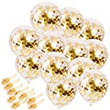 Sinksons 20 Piece Gold Confetti Party Balloons With Golden Paper Confetti Dots For Party, Wedding Decorations And Proposal, Gold