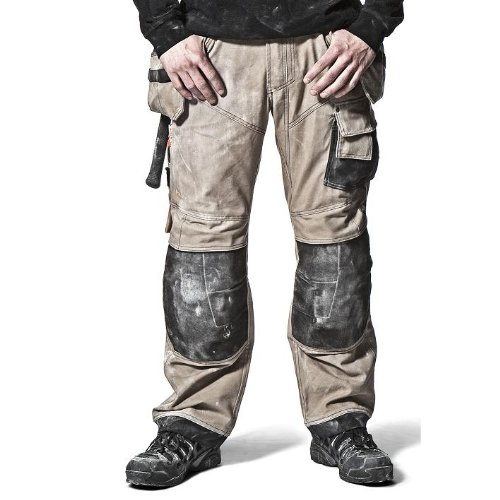 Snickers XTR Craftsmens Canvas+ Kneepad Trousers 3244 (Long 154 (W38 L35), Khaki/Black 2004)