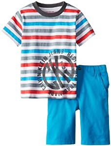 Calvin Klein Boys 2-7 Crew Neck Stripes Tee with Shorts from Calvin Klein