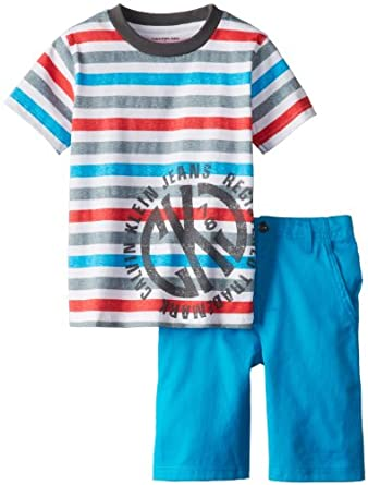 Calvin Klein Little Boys' Crew Neck Stripes Tee with Shorts, Assorted, 4