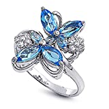 Little Treasures Rhodium Plated Sterling Silver Wedding & Engagement Ring Blue Topaz & Clear CZ Butterfly Ring