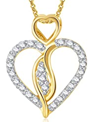 Meenaz Gold Plated Heart Pendant With Chain For Girls And Women PS374