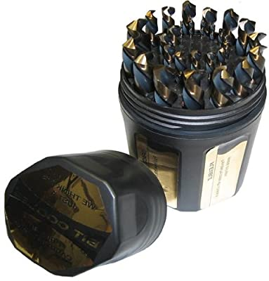 "Drill America KFD29J-PC KFD 29-Piece High-Speed Steel Jobber Length Drill Bit Set in Plastic Case, Black/Gold Oxide Finish, Round Shank, Spiral Flute, 135 Degrees Split Point, 1/16"" to 1/2"" Size"