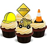 Construction Mix Diggers Hard Hat Cone Work Boys Toys - Fun Novelty Birthday PREMIUM STAND UP Edible Wafer Card Cake Toppers Decoration
