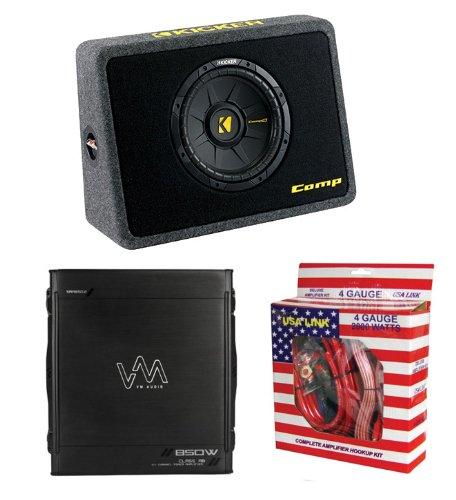 """Kicker 40Tcws104 10"""" 600W Car Loaded Subwoofer + Box + 850W Amplifier + Amp Kit"""