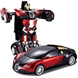 The Flyer's Bay One Button Transforming Car Into Robot With Cool Dance Features (Red Bugatti)
