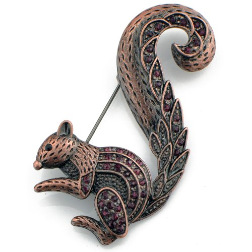 Vintage Style Amethyst Squirrel Animal Pin Brooch